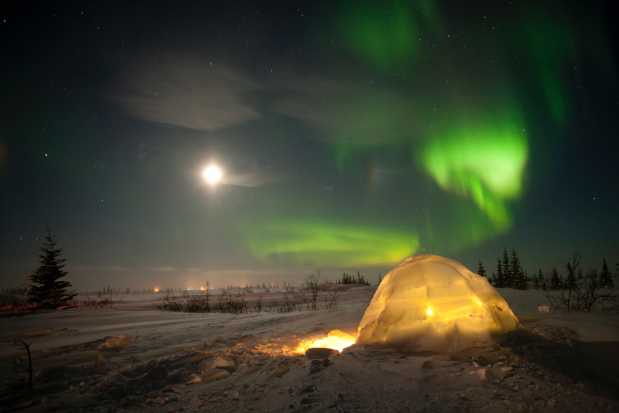 Northern Lights, Aurora Borealis, Churchill, Manitoba, Canada, Igloo