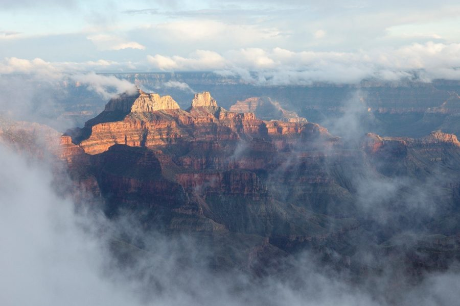 misty view of the north rim of the grand canyon from the north rim lodge viewpoint