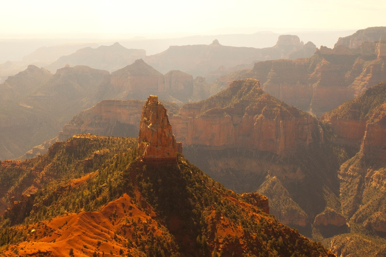 morning light on Mt. Hayden at Pt. Imperial from the North Rim of the Grand Canyon