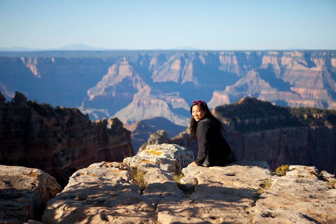 a portrait of a young woman taken near the picnic area of the cape royale viewpoint of north rim grand canyon