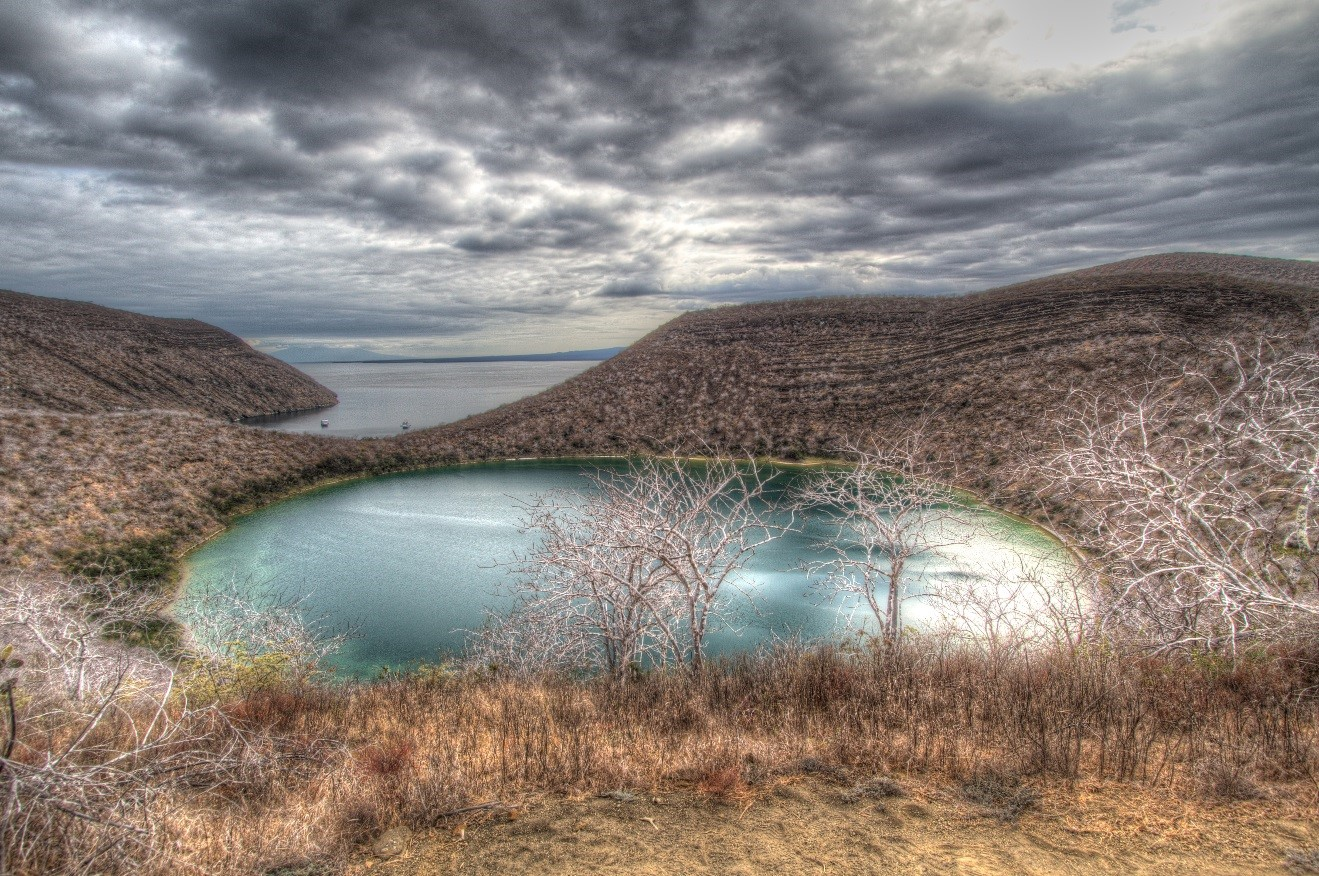 a photo of darwin's bay in the galapagos islands