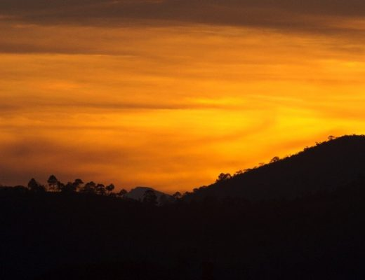 a vibrant orange sunset in Central America