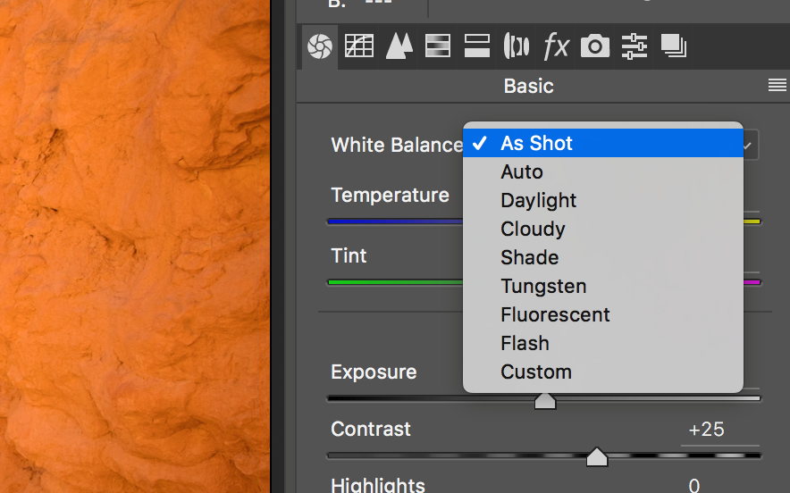 the white balance settings of photoshop when changing photos in post processing
