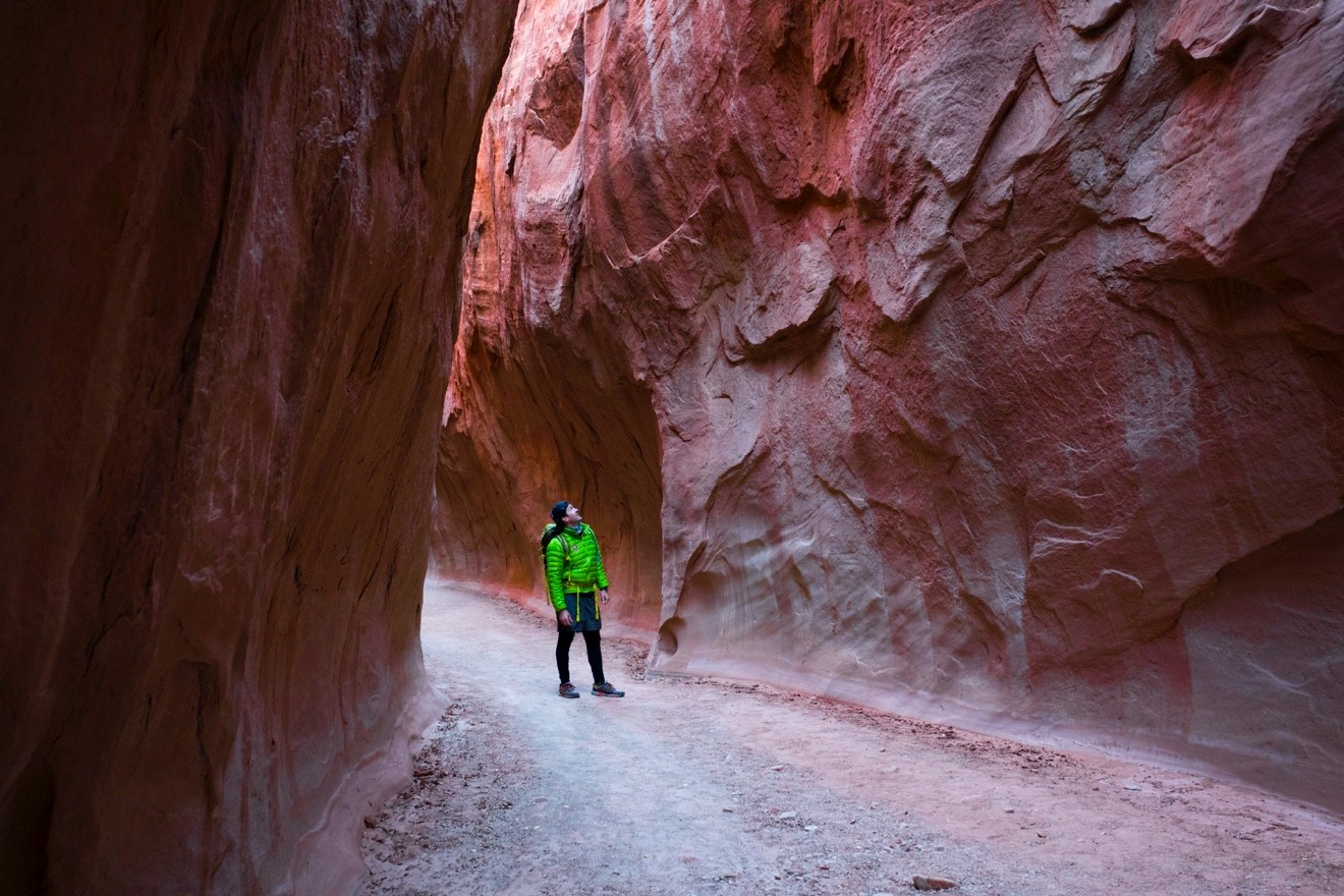 a hiker peers at the tall walls of dry fork narrows in Escalante National Monument