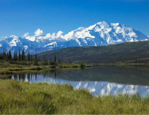 a perfect composition showcases the beauty of mt. denali in alaska