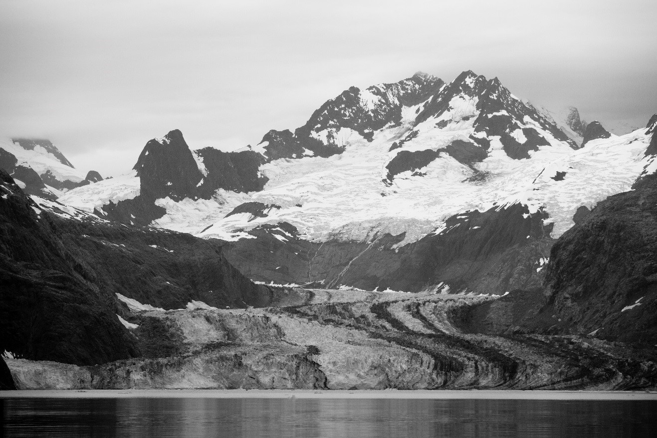 a stunning black and white photo of a glacial field in Alaska