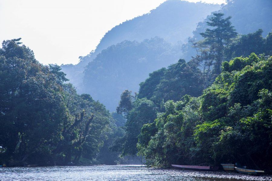 a beautiful mist cloaks the peaks of Mulu National Park above the melinau river in Borneo