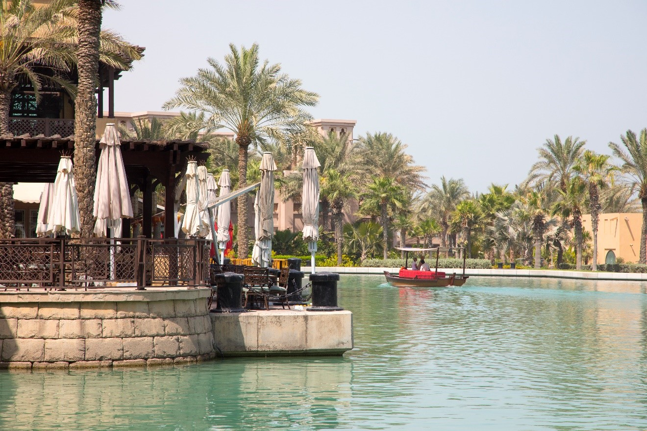 the water ways of a luxury resort in dubai on the beach