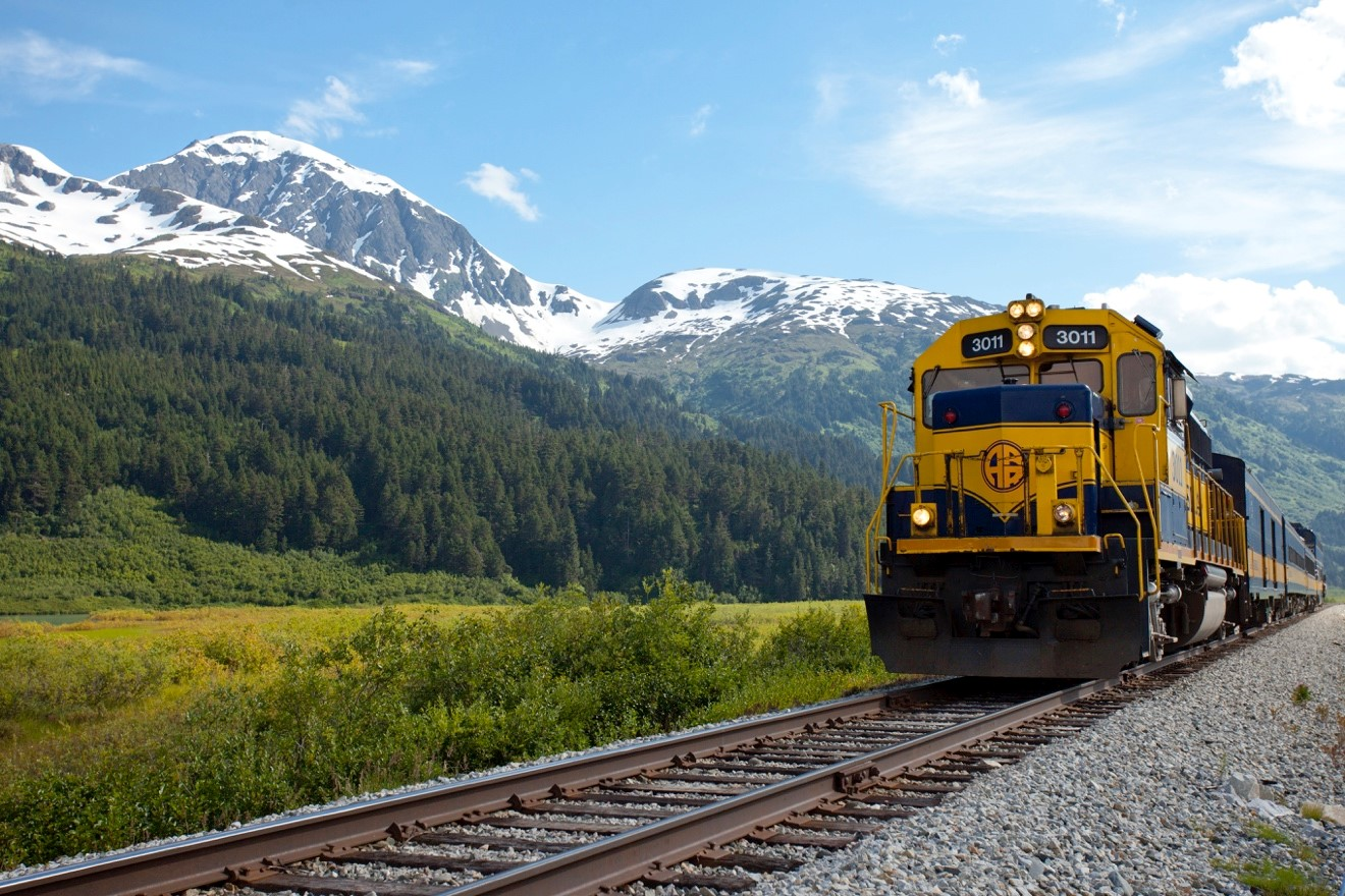 an alaska rail engine parked near the spencer glacier whistle stop in alaska