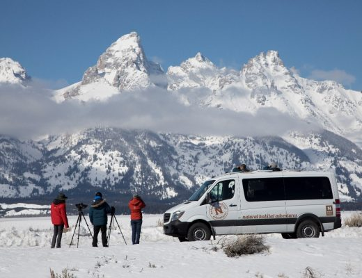 photographers and ecotourists look at the mighty grand teton range outside of jackson, wyomin