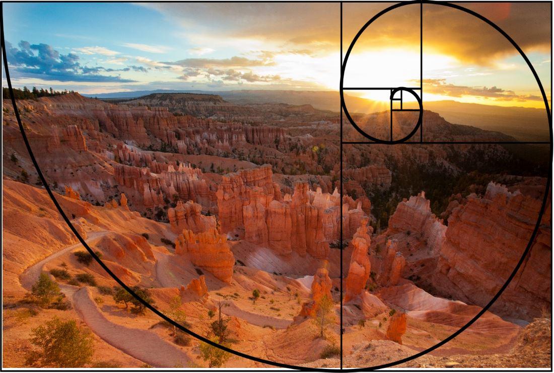 a photo of bryce canyon has a fibonacci spiral overlaied