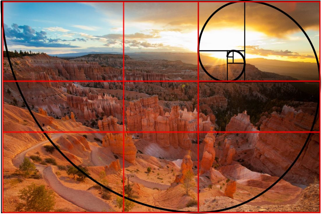 bryce canyon has a rule of thirds and fibonacci spiral to demonstrate composition in photography