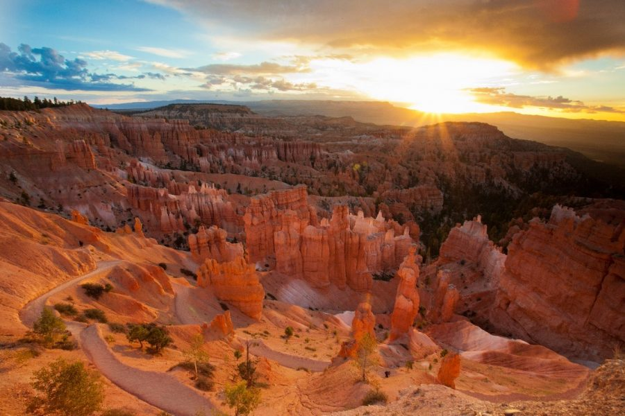 an exquisite sunrise shines over bryce canyon