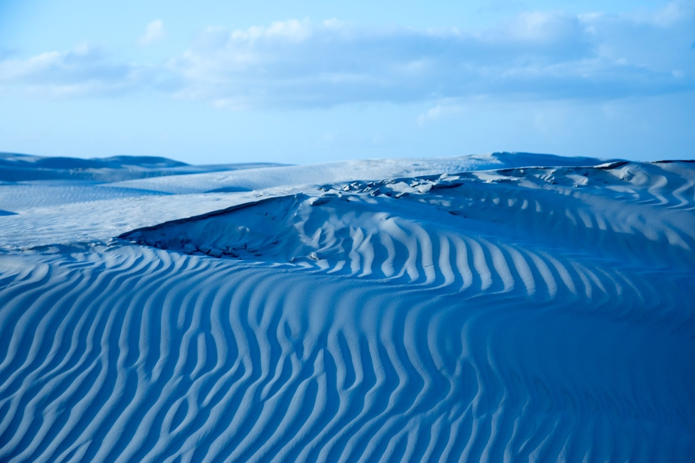 cool blue colors of dunes in baja