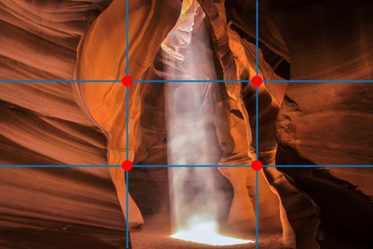a rule of thirds grid is over Lori's photo, showing the compositional elements